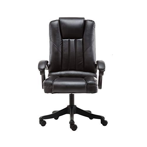 GFDFD Liegender Bürostuhl Verstellbarer drehbarer Lift PU Leder Bürocomputer Gaming Stuhl Sessel Nylon Füße (Color : Black)