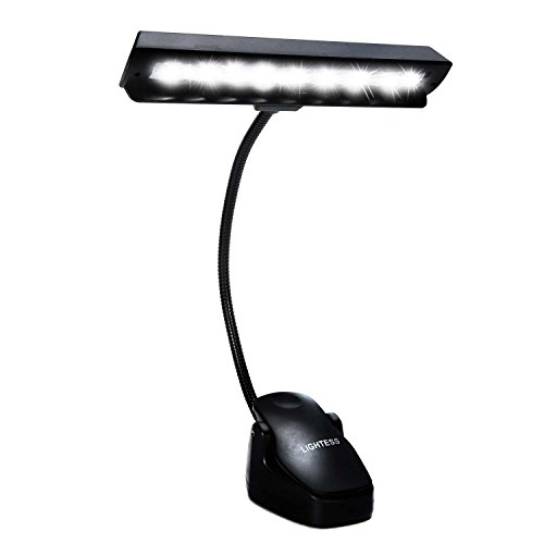 Lightess Music Stand Light LED Clip on Book Lights Piano Reading Lamp USB Desk Lamp, Black