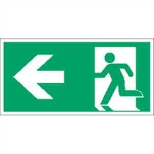 Aufkleber Notausgang links gemäß ASR A1.3/ DIN 7010 Folie transparent selbstklebend 5x10 cm (Rettungsschild, Fluchtweg) praxisbewährt, wetterfest