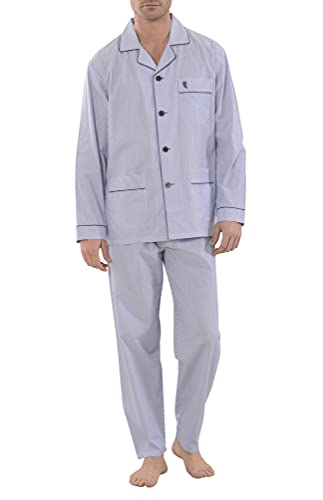 El Búho Nocturno - Pijama Hombre Largo Solapa Popelín Rayas Marino 60% algodón 40% poliéster...