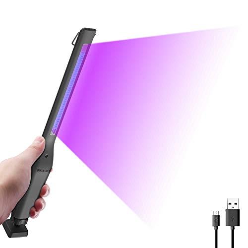 Lámpara Desinfección UVC Luz de Esterilización Germicida Ultravioleta Portátil 254nm Lámpara Recargable USB Antibacteriano (Gris, Estilo Largo)