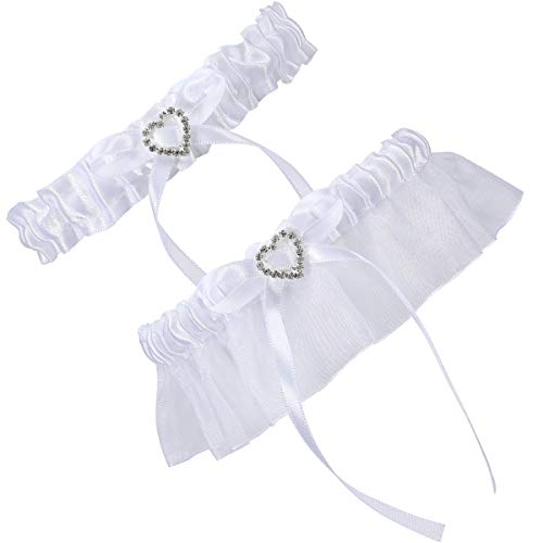 Cosweet 2 Pcs Lace Wedding Bridal Garter Set- Stretchy Bridal Garters with Rhinestone Satin Bow for Bride Accessories…