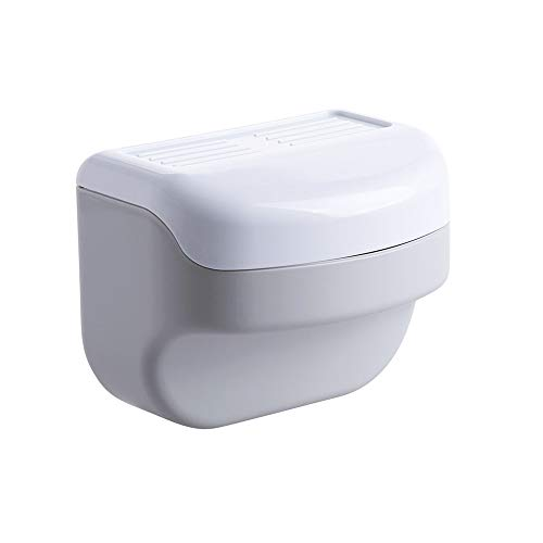 XVXFZEG Gris de pared de caja del tejido de plástico del hogar casilla de bombeo de baño Inodoro No hay necesidad de perforar agua y al polvo del sostenedor del tejido sin fisuras del rollo de papel t