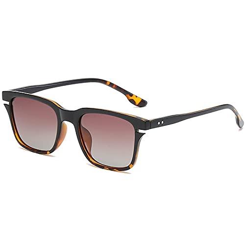 AMFG Gafas de sol polarizadas de marco cuadrado retro para hombres y mujeres conduciendo conductores de conducción espejo (Color : A)