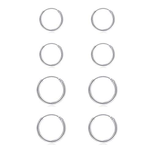 Silver Hoop Earrings- Cartilage Earring Small Hoop Earrings for Women Men Girls,4 Pairs of Hypoallergenic 925 Sterling Silver Tragus Earrings(Silver,8mmx2+10mmx2)