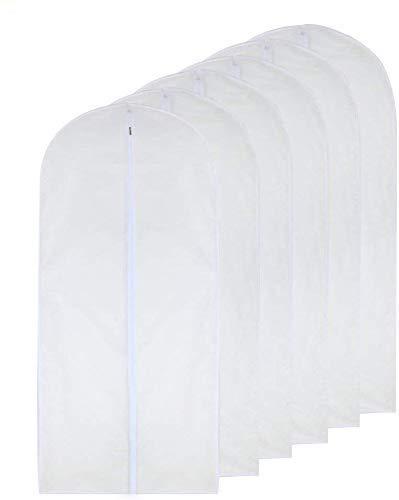 Bolsa de ropa Transparente (60X80cm) Bolsa de traje Bolsas de ropa a prueba de polilla Cubierta de polvo con cremallera completa transpirable blanca para traje Ropa de baile Armario Paquete de 6