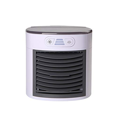 Mini Air Conditioner, USB Personal Space Cooler, Portable 7 Color LED Fan, Whisper-quiet fan, Air Cleaner, Soothing Night Light, Safe & Energy Efficient, Best for Travel (White)