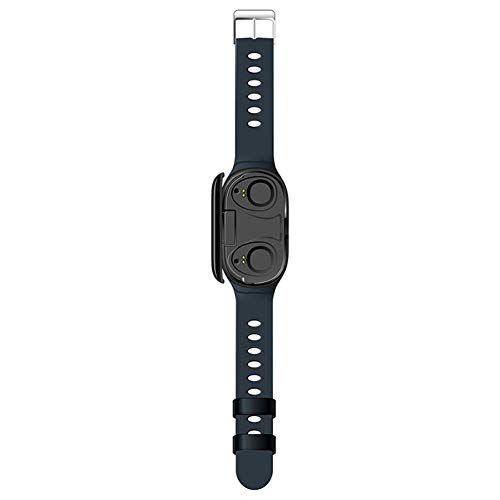 Phnirva 2-in-i Kopfhörer Smart Uhr Bluetooth Sports Armband Blutdruck Herzfrequenz Armband - Blau