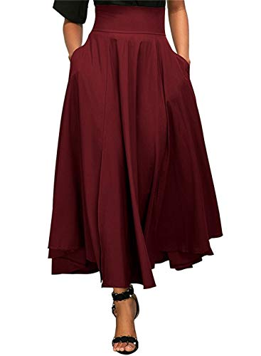 zoulouyou Rock Damen Hohe Taille Schöne Kleider Frauen Mode Einfarbig Rock Faltenrock Röcke Sommerröcke Rüschen Schnürsenkel Maxi Rock mit Gürtel