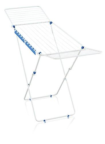 Leifheit Standtrockner Classic 200 Easy, Color Edition weiß-blau, Wäscheständer mit 20m Trockenlänge für 2 Waschmaschinenladungen, mit Flügeln für lange Wäschestücke, platzsparender Wäschetrockner