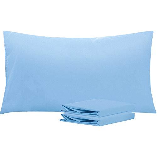 NTBAY Fundas de Almohada de Microfibra Lisa, Juego de 2 Fundas de Almohada Suaves, Antiarrugas y Resistentes a Las Manchas con Cierre de sobre, 50x90 cm, Azul Celeste
