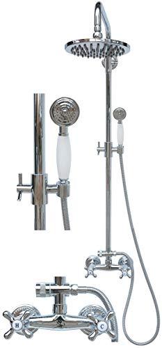 Retro Duschset Duschgarnitur Regendusche Set Brausegarnitur Zweigriff Armatur Duschstange Mischbatterie Duschkopf Chrom