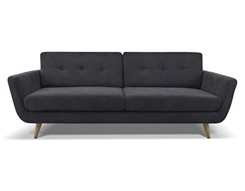 Sandra Triple Seater Sofa by Urban - Home Furniture for Living Room - Industrial Settee with Retro Design Sleeper Sofa Couch (Gray)