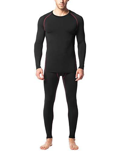 LAPASA Uomo Base Layer Completo Termico a Compressione - Interno Spazzolato - T-Shirt Sportiva a Maniche Lunghe e Pantaloni Invernali M53 (S(Torace 89-94 cm), Nero+Rosso)