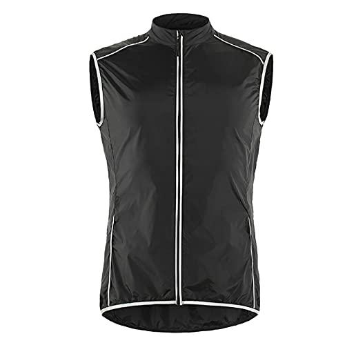 WWAIHY Chaleco para Ciclismo para Hombre,Chaleco de Bicicleta MTB,Reflectante Chaleco sin Mangas,Chaqueta Transpirable Ciclismo Cortavientos,Camisetas de Ciclismo sin Mangas(Size:S,Color:Black)