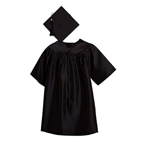 Bumplebee Kinder Akademischer Talar Doktorhut für Abschluss, Vorschule und Bachelor Grundschule Abschlussfeier, Academicus Komplett-Set Graduation Robe Unisex (Schwarz, L)