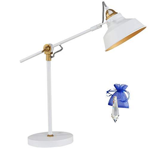 Tafellamp industrieel wit mat goud E27 vintage tafellamp bureaulamp in industrieel design retro werkplaatslamp bureaulamp 230 V 1321 W + Giveaway