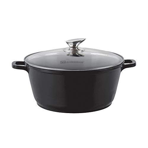 SQ Professional NEA Die-Cast Aluminium Stockpot with Lid 3-Layer Non-Stick Coating - Silicone Handle Covers (Nera - Black, 24cm)