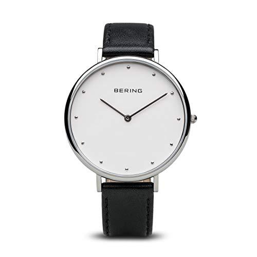 BERING Unisex-Armbanduhr Analog Quarz Leder 14839-404