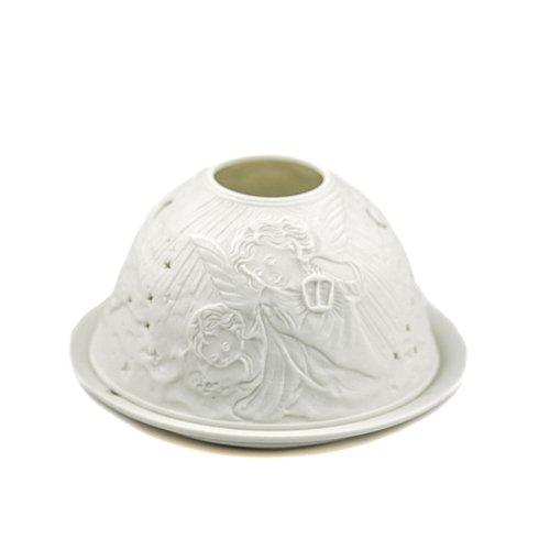 Porzellan-Teelicht-Windlicht, Starlight Nr.350, Engel mit Sterne (durchbrochen), Lithophanie weiß