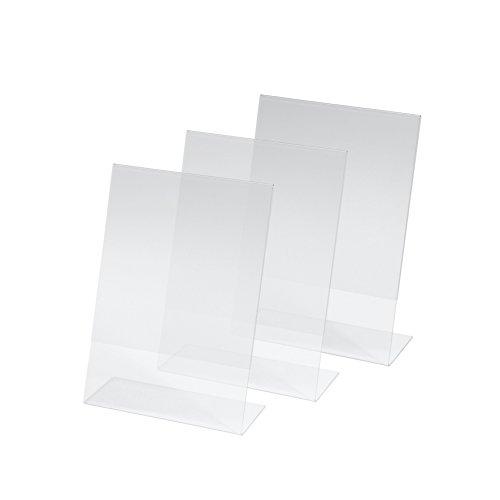 SIGEL TA212 Tischaufsteller schräg, 3 Stück, für A5, glasklar Acryl - weitere Größen