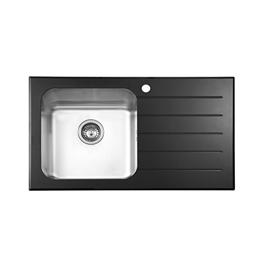 JASS FERRY Évier de cuisine en acier inoxydable avec dessus en verre noir brillant, égouttoir à 1 cuvette à droite 860 x 500 mm