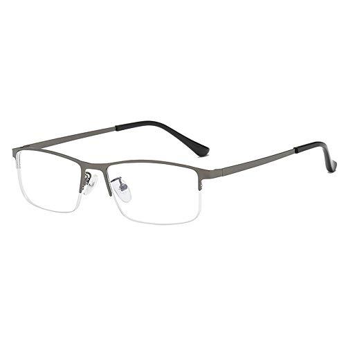 Reading Glasses Gafas de Lectura comerciales de Medio Marco de Metal, Lentes de Resina de Alta definición, cómodas y Transparentes de Usar, luz Anti-Azul, Cuidado de los Ojos