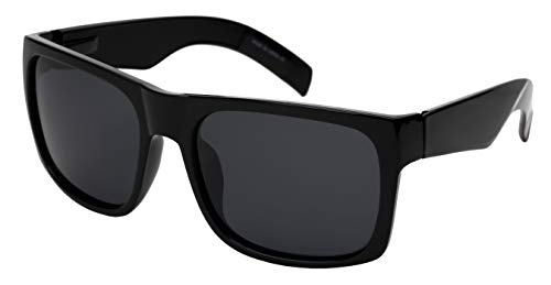 Extra Large Wide Rectangular Frame Polarized Sunglasses for Big Head with Spring Hinge MBG540987S-P-1(BLK.sd)