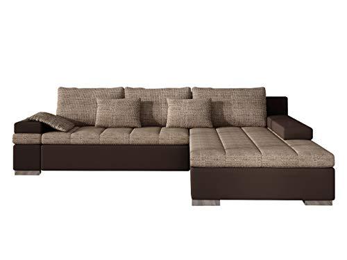 Mirjan24 Design Ecksofa Bangkok, Moderne Eckcouch mit Schlaffunktion und Bettkasten, Ecksofa für Wohnzimmer, Gästezimmer, Couch L-Form, Wohnlandschaft, (Ecksofa Rechts, Soft 066 + Lawa 02)