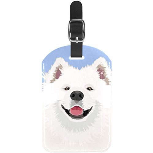 Luggage Tags White Samoyed Dog Leather Travel Suitcase Labels 1 Packs