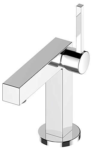 KEUCO Waschtisch-Armatur chrom für Waschbecken im Bad, mit Ablaufgarnitur Zugstange, Höhe 22,1cm, Design-Wasserhahn, Waschtischmischer, Edition 90