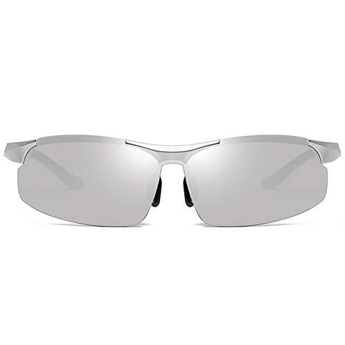 Stella Fella Gafas De Sol UV400 Polarizadas De Aluminio Y Magnesio for Deportes Y Uso Nocturno con Montura Plateada Y Lentes Plateadas for Hombres.