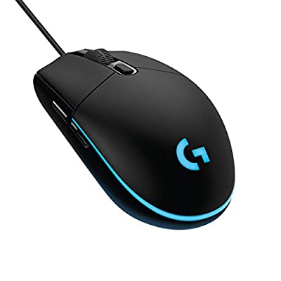 Logitech G203 Prodigy Wired Gaming Mouse, 8,000 DPI, RGB, Lightweight, 6 Programmable Buttons, On-Board Memory, Compatible with PC / Mac - Black
