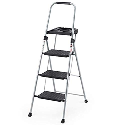 Delxo Folding Steel 3-Step Stool Ladder Tool Equipment for Indoor, Outdoor with Soft Handgrip Anti-Slip Widen Pedals Safe Metal Lock Design 300lbs Capacity