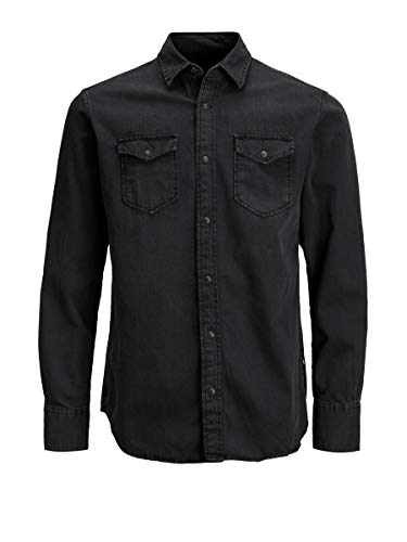 Jack & Jones Jjesheridan Shirt L/s Camisa Vaquera, Negro (Black Denim Fit:Slim), X-Large para Hombre