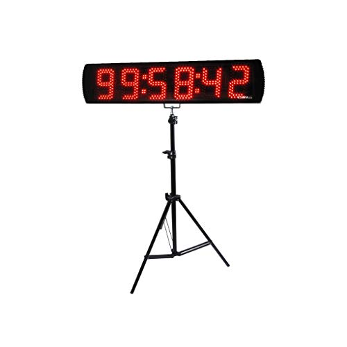GANXIN 5 Inches 6 Digits LED Race Clock with Tripod for Running Events, Countdown / up, 12/24 Hour Time Clock, Stopwatch with Remote Control