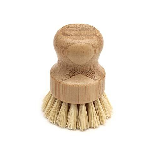 XiaoOu Haushaltsküche Sisal Bambuspalme Küchenpfanne Topfreinigungsbürste Kurzer runder Holzgriff Haushaltsschüssel Geschirrspülmittel, B.