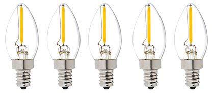 Bulbright C7 Kerze LED Glühbirne E14 Edison Lampe ersetzt 10 Watt, 0.5W, 60 Lumen, 2700K warmweiß, LED Kerzen Filament Fadenlampe, 220V AC, für Hängelampe Wandleuchte Pendelleuchte 5er Pack (0.5)