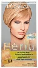 Loreal Feria Multi Faceted Shimmering Hair Color, 91 Light Beige Blonde- 1 Ea (Pack of 3)