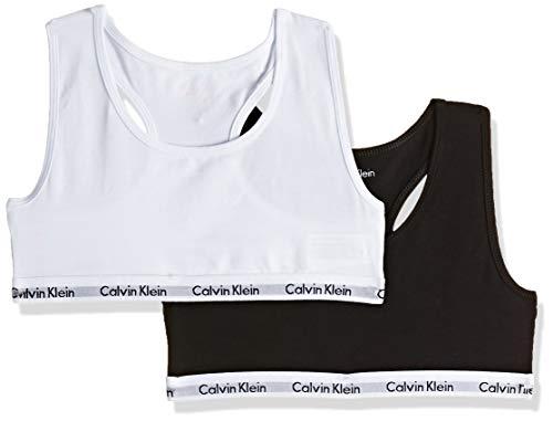 Calvin Klein Mädchen BH 2PK Bralette, Schwarz (White/Black 908), 146 (Herstellergröße: 10-12)