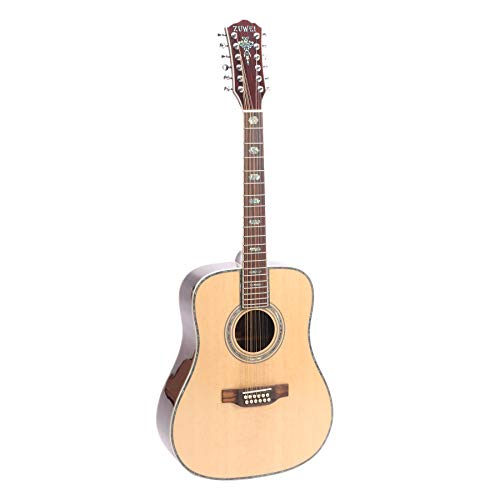 ZUWEI 41in 12 Strings Electric Acoustic Guitar 12X1E Solid Spruce Top,Rosewood Back&side Abalone Inlay, Grover Tuner 20F Roseweood Fingerboard Saddle Free Hardcase Gloss Finish