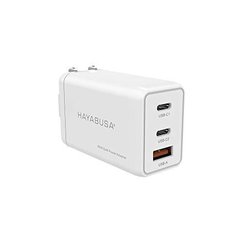 ハヤブサプラス 65W USB-C 急速充電器 (3ポート世界最小クラス) GaN 窒化ガリウム 折畳式 PD対応 iPhone 11/11 Pro/XR/8 MacBook ProGalaxyS10 その他USB-C機器対応 PD-533A(ホワイト)