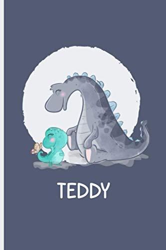 Teddy: Personalisiertes Notizbuch A5-Tagebuch, blaues Dino-Notizbuch für Jungen und Kinder, Tagebuch für Kinder mit dem Namen Teddy, Geburtstag und Geburtstagsgeschenk für Dino-Liebhaber