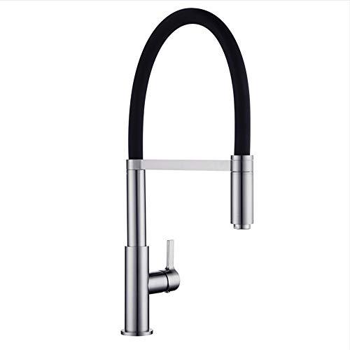 LLLYZZ Armaturen Patent Design 360 Swivel Massivem Messing Einzigen Griff Mischer Waschbecken Wasserhahn Pull-Out-Down Küche Wasserhahn In Gebürstet Nickel