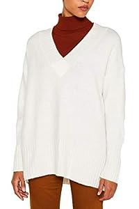 ESPRIT Damen 109Ee1I038 Pullover, Weiß (Off White 110), Small (Herstellergröße: S)
