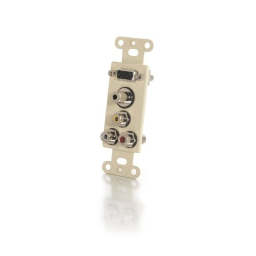 C2G/Cables to Go 41026 Decorative HD15 VGA + 3.5mm + Composite Video + Stereo Audio Wall Plate Insert - Ivory