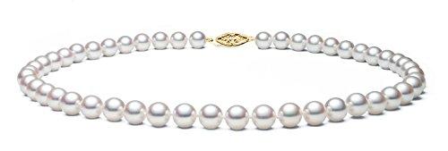 Oro giallo 14 k con perla Akoya Hanadama qualità giapponese Collana con perle d'acqua dolce, lunghezza 43,18 cm (17'), Oro giallo, colore: oro, cod. N-1302-AK-YG-75