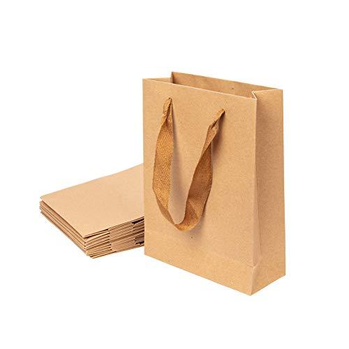 NBEADS 10 Pezzi Sacchetti di Carta, Sacchetti per la Spesa in Cartone Spesso con Manico per Confezione Regalo Aziendale per Bomboniere, 20x15x6cm