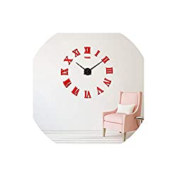 Asteria-Ashley HomeDecoration Wall Clock Modern Design Large Size Wall Clocks DIY Wall Sticker Unique Gift,red,47Inch