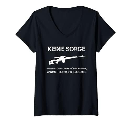 Mujer No te preocupes si escuchas el tiro Kannst   Sniper Jäger. Camiseta Cuello V